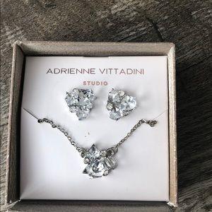 Adrienne vittadini silver rhinestone gem necklace